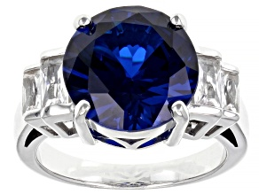 Pre-Owned Blue Lab Created Spinel Rhodium Over Sterling Silver Ring 6.29ctw