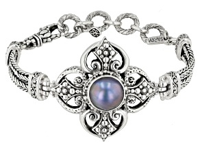 Pre-Owned Blue Mabe Pearl Sterling Silver Bracelet