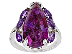Pre-Owned Purple Turquoise Rhodium Over Sterling Silver Ring 0.71ctw