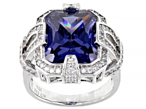 Pre-Owned Blue And White Cubic Zirconia Rhodium Over Sterling Silver Ring 11.31ctw
