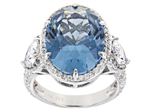 Pre-Owned Blue lab Created Spinel and White Cubic Zirconia  Rhodium Over Silver Ring