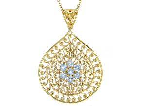 Pre-Owned Sky Blue Topaz 18K Yellow Gold Over Sterling Silver Pendant with Chain. 1.16ctw