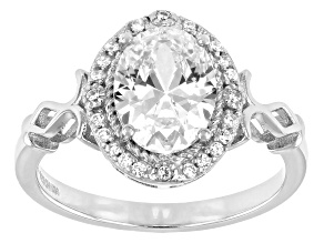 Pre-Owned White Cubic Zirconia Rhodium Over Sterling Silver Ring 2.85ctw