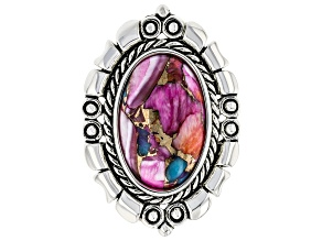 Pre-Owned Purple Spiny Oyster Blended with Turquoise Rhodium Over Sterling Silver Ring