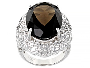 Pre-Owned Brown Smoky Quartz Rhodium Over Brass Ring 13.00ctw