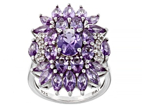 Pre-Owned Purple Lab Created Color Change Sapphire Rhodium Over Silver Ring 5.27ctw