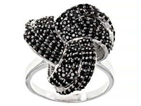 Pre-Owned Black spinel rhodium over sterling silver ring 1.20ctw