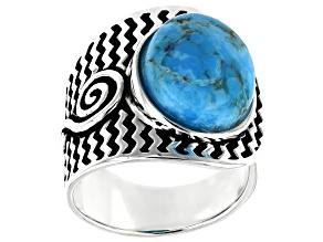 Pre-Owned Turquoise Cabochon Rhodium Over Silver Solitaire Ring
