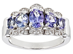 Pre-Owned Blue Tanzanite Rhodium Over Sterling Silver Ring. 1.63ctw
