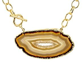 Pre-Owned Free-Form Agate Slab 18K Gold Over Brass Link Necklace