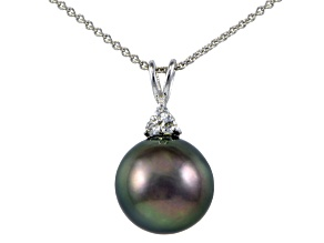 Pre-Owned Rhodium Over Sterling Silver 11mm Tahitian Cultured Pearl Pendant With Chain