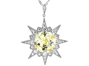 Pre-Owned Yellow And White Cubic Zirconia Rhodium Over Sterling Silver Pendant With Chain 19.04ctw
