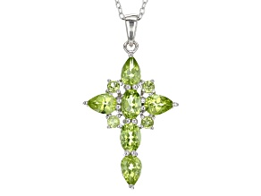 Pre-Owned Green Peridot Rhodium Over Sterling Silver Cross Pendant With Chain 2.67ctw