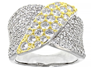 Pre-Owned White Cubic Zirconia Rhodium And 14K Yellow Gold Over Silver Ring