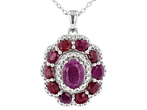 Pre-Owned Red Indian Ruby Rhodium Over Sterling Silver Pendant With Chain. 3.40ctw