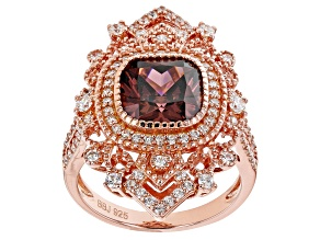 Pre-Owned Blush and White Cubic Zirconia 18k Rose Gold Over Sterling Silver Ring 7.18ctw