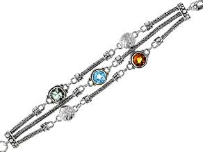 Pre-Owned Multi-Gemstone Silver Bracelet 5.65ctw