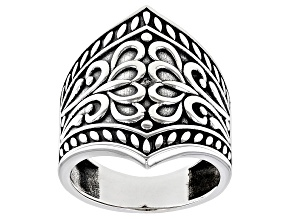 Pre-Owned Rhodium Over Sterling Silver Oxidized 26MM Floral Design Dome Ring