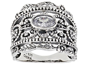 Pre-Owned White Cubic Zirconia Rhodium Over Sterling Silver Ring 1.24ctw