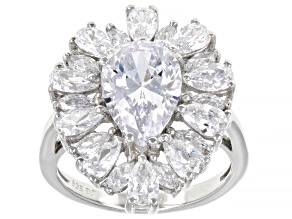 Pre-Owned White Cubic Zirconia Rhodium Over Sterling Silver Ring 9.41ctw