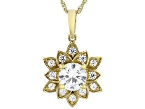 Pre-Owned White Cubic Zirconia 14k Yellow Gold Over Sterling Silver Lotus Flower Pendant 4.20ctw