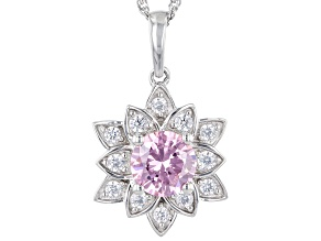 Pre-Owned Yellow And White Cubic Zirconia Rhodium Over Sterling Silver Lotus Flower Pendant 4.20ctw