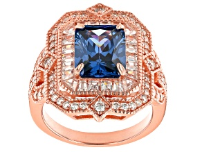 Pre-Owned Blue and White Cubic Zirconia 18K Rose Gold Over Sterling Silver Ring