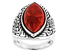 Pre-Owned Red Coral Rhodium Over Sterling Silver Ring