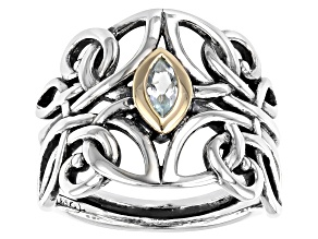 Pre-Owned Sterling Silver and 10K Yellow Gold Accent Sky Blue Topaz Angel Ring