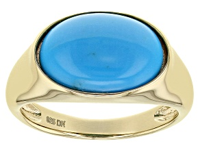 Pre-Owned Blue Sleeping Beauty Turquoise 18k Yellow Gold Over Silver Ring