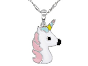 Pre-Owned Black Spinel & Multi-Color Enamel & Rhodium Over Silver Children's Unicorn Pendant With Ch