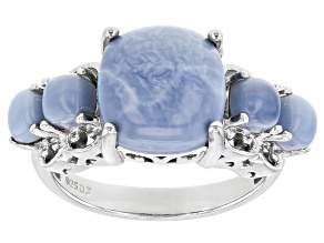Pre-Owned Blue Opal Rhodium Over Sterling Silver Ring
