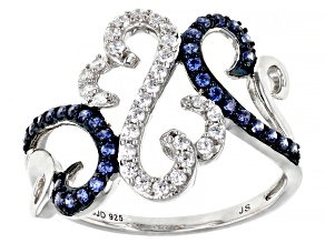 Pre-Owned White And Blue Cubic Zirconia Rhodium Over Sterling Silver Ring