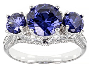 Pre-Owned Blue And White Cubic Zirconia Rhodium Over Sterling Silver Ring 6.24ctw