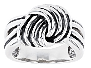 Pre-Owned Knot Design Rhodium Over Sterling Silver Ring
