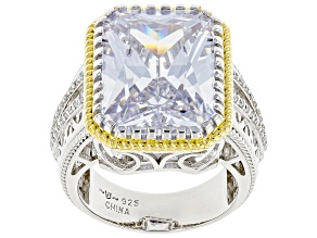 Pre-Owned White Cubic Zirconia Rhodium And 14K Yellow Gold Over Sterling Silver Ring 15.03ctw