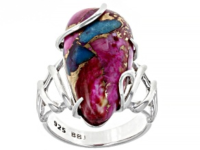 Pre-Owned Blended Turquoise and Purple Spiny Oyster Shell Rhodium Over Silver Ring