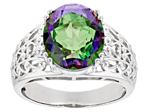 Pre-Owned Multicolor Quartz Rhodium Over Sterling Silver Solitare Ring 4.00ct