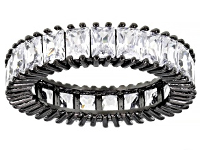 Pre-Owned White Cubic Zirconia Black Rhodium Over Sterling Silver Eternity Band Ring 7.82ctw