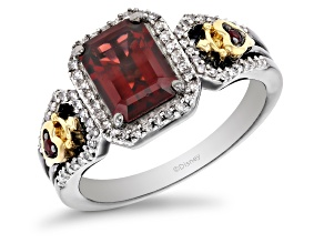 Pre-Owned Enchanted Disney Evil Queen Ring Garnet And Diamond Rhodium And 14k Yellow Gold Over Silve
