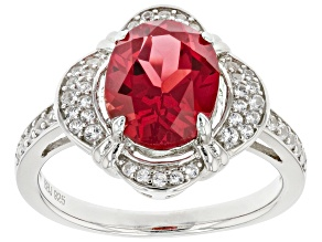 Pre-Owned Red Lab Created Padparadscha Rhodium Over Sterling Silver Ring 3.45ctw