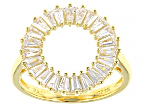 Pre-Owned White Cubic Zirconia 18K Yellow Gold Over Sterling Silver Ring 1.84ctw