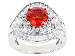 Pre-Owned Orange And White Cubic Zirconia Rhodium Over Sterling Silver Ring 6.80ctw