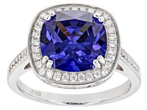 Pre-Owned Blue And White Cubic Zirconia Rhodium Over Sterling Silver Ring 8.33ctw