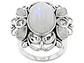 Pre-Owned White Rainbow Moonstone Rhodium Over Sterling Silver Ring 0.34ctw
