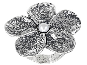 Pre-Owned White Cultured Freshwater Pearl Sterling Silver Flower Ring