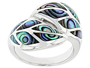 Pre-Owned Abalone Shell Rhodium Over Sterling Silver Leaf Ring