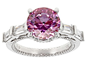 Pre-Owned Swarovski ® purple zirconia & white cubic zirconia rhodium over silver ring 8.47ctw