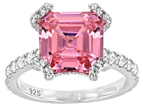 Pre-Owned Asscher Cut Pink And White Cubic Zirconia Rhodium Over Sterling Silver Ring 10.33ctw