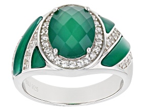 Pre-Owned Green Onyx Rhodium Over Sterling Silver Ring 1.25ctw